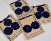 """Vintage Buttons Estate Auction - 11 Navy Blue 2 Hole 1950s Lot 1 1/4"""" Costumakers Round Flat Statement Original Card Made USA"""