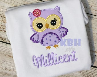 Embroidered Owl Shirt, Bodysuit, or Gown