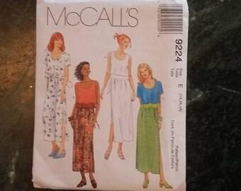 MCCALLS, sewing pattern 9224, womens, skirt, blouse, uncut, size 14, 16, 18, sewing, pattern, diy, craft supplies