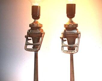 French Vintage Fire Hose Nozzle Lamp