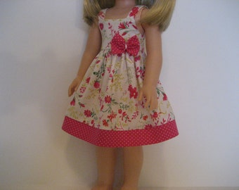 14.5 Inch Doll Clothes - Hot Pink Flowers Sundress made to fit dolls such as the Wellie Wishers and Hearts 4 Hearts doll clothes