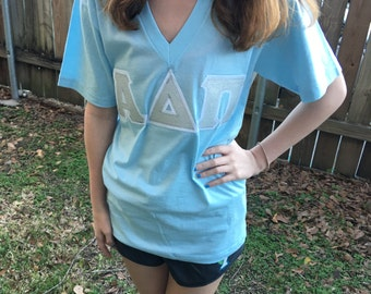Stitched Fabric Letter Sorority American Apparel V-Neck Shirt