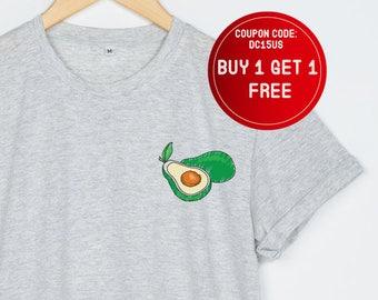 Avocado Shirt Pocket T-Shirt Women Funny T Shirts Tee Tumblr Tshirt Size S M L XL - 3XL Heather Grey White