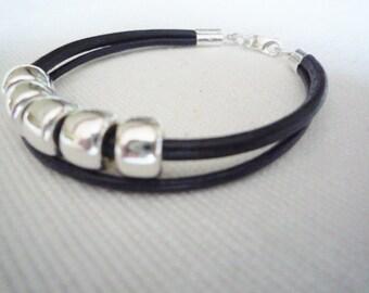 Soft black/ dark grey leather double strand bracelet with silver beads