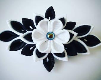 kanzashi barrette clip, black and white hair clips, wedding hair clip, hair accessories, wedding accessories, flower hair clip