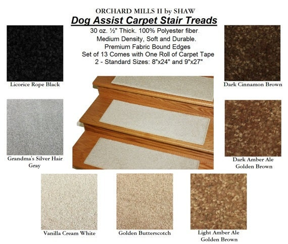 9x27 Dog Assist Carpet Stair Treads Shaw Orchard