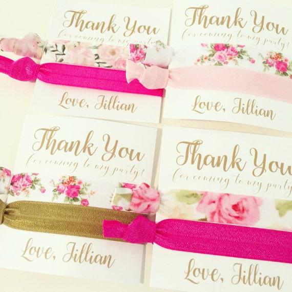 Floral Hair Tie Favors | Custom Pink + Gold Floral Hair Tie Favors, Birthday Party Favors, Adult Older Girls Teen Tween, Floral Baby Shower