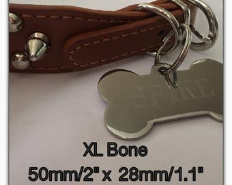 Pet ID Tag Extra Large Size Bone - FREE SHIPPING (Canada) engraved free  - Shipped from Canada - Heavy duty Polished Stainless Steel