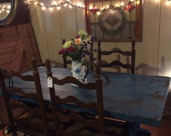 Fabulous blue trestle table