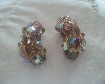 Vintage Aurora Borealis Crystal Earrings Clip On Vintage Wedding