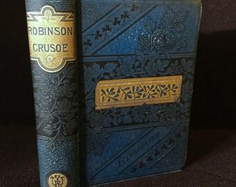 RL Stevenson - Robinson Crusoe Lippincott 1860s 110 Engravings
