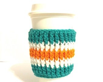 Team sports cozy, orange teal cozy, coffee cup cozy, crochet cup sleeve, striped cozy, drink cup cuff, java cup cuff, latte, beverage cozy,