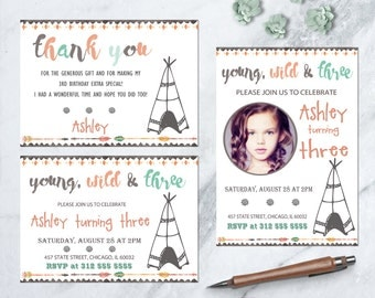 Young Wild & Three Party Invitation, Tribal Birthday Party Invite, Boho 3rd Birthday Invitation, Pow Wow Invitation, Wild and Three Invite