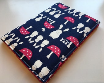 A5 covered notebook or diary. Woodland bunny and toadstool fabric with pink polka dot lining - perfect back to school gift