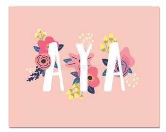 Aya Baby Name Wall Art Aya Baby Name Sign Aya Party Printable Aya Party Decorations Aya Adult Party Decorations Aya Art