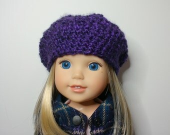 Crochet purple slouchy hat for 14 inch dolls such as Wellie Wishers