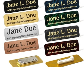 Custom Engraved Brass Name Tag Name Badge Magnetic or Pin Closure Employee Identification Plate Sign Personalized Real Metal Made in USA