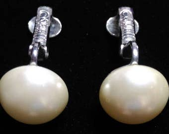 Sarah Coventry Vintage Pearl Earrings Silver Tone Clip On