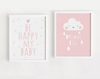 Printable Nursery Art Set of 2 Poster Baby Girls room Wall art Child room decor Pink color print Digital file INSTANT DOWNLOAD
