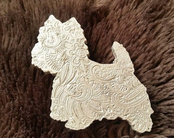 West Highland White Terrier Engraved Zentangle Wooden Brooch