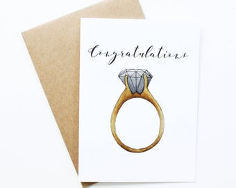 newly engaged gift, Congratulation Greeting Card, newly engaged, just engaged gift, engagement ring, newly engaged couple, just engaged