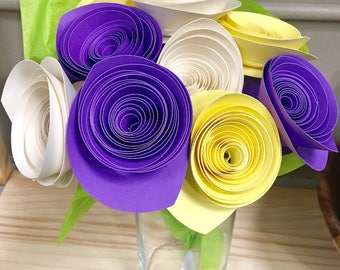 Custom Paper Flower Bouquet 9 Stem Solid Color Flowers Wedding Bouquets Birthday Gifts Baby Shower Gift Please Choose Your Colors
