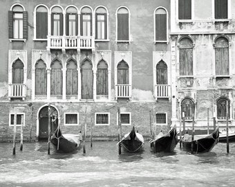 Venice, Black and White Photography, Venice Italy, Europe Architecture, Venice Print, Gondola boats, Canal, Windows and Doors, Travel Photo
