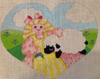 Handpainted Needlepoint canvas--Little Bo Peep