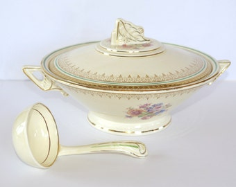 Art Deco Soup Tureen with Laddle - Burleigh Ware Cream Ceramic - English Vintage Serving Dish - Shabby Chic -
