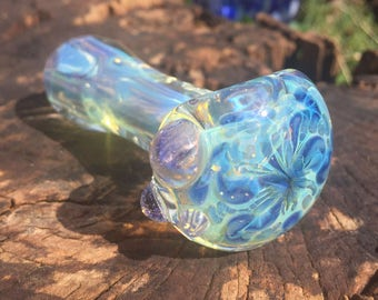 Squiggly Blues Glass Pipe. Tobacco Pipe. Spoon Pipe. Handmade in USA by FlabbaGlass Designs