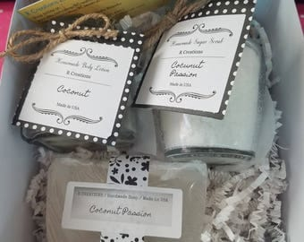 Spa Gift Set with Homemade Soap, Sugar Scrub and Lotion