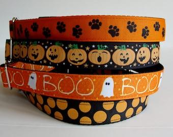 Halloween Dog Collars - Paw Print, Pumpkin, Boo, Dots