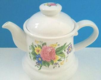 Beautiful Vintage Bordeaux Teapot, Bordeaux Ceramic Teapot, Vintage Teapot, Made In England, Floral Pattern Teapot.