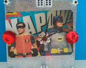 Handmade Acrylic Batman And Robin Wall Clock, Functional Art, Batman And Robin, Retro TV Clock, Superhero Clock, Handmade, Made By Mod.