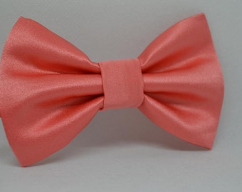 Satin Bow tie, coral/pink colour, Men's bow tie, child bow tie, baby bow tie, handmade accessory, wedding