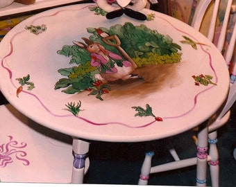 peter rabbit table set, hand painted child's table set, childrens table and chairs