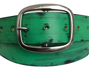 Mint Green Distressed Leather Belt - Handmade in USA