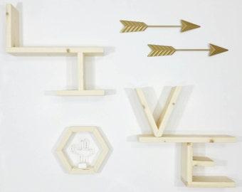 Living Room Wall Decor - Decorative Shelves - Display Shelf - Wall Shelf - Wooden Shelves - Hanging Shelves - Modular Shelving - Home Decor