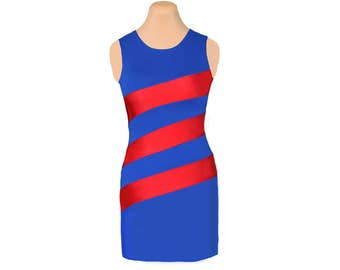 Red + Blue Diagonal Stripe Dress