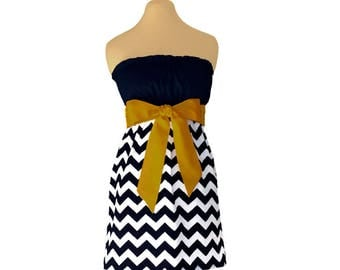 Black + Gold Chevron Game Day Dress