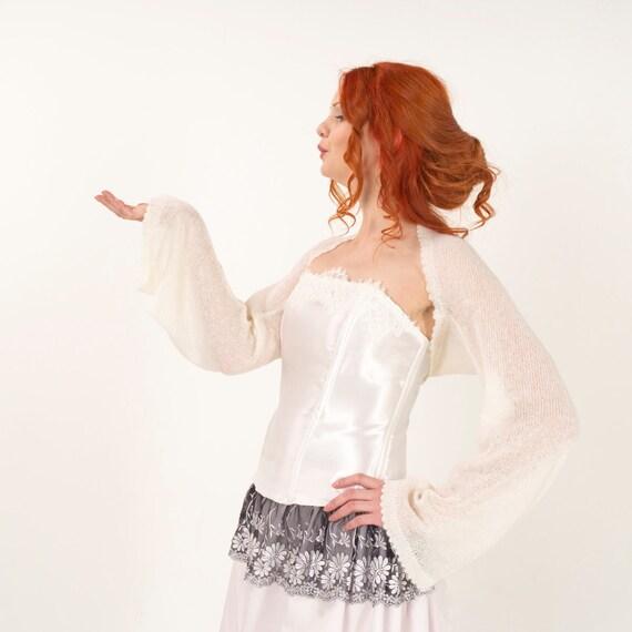 Bridal Jacket Cover Up Wedding Shrug Long Sleeve Bolero Knit