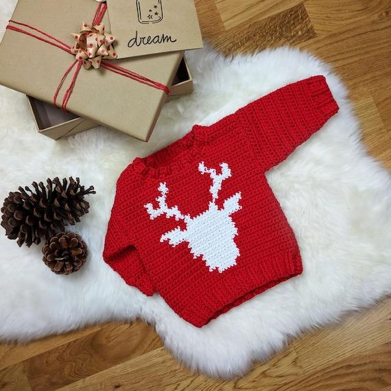 Reindeer Baby Sweater - CROCHET PATTERN