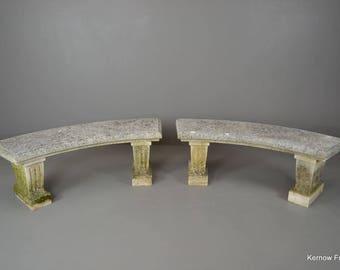 Pair Cast Stone Garden Benches