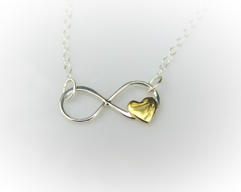 Infinity Necklace - Forever Charm Necklace - Gift for Her - Infinity Charm - Heart Charm - Sterling Silver Necklace