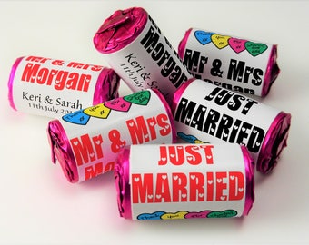 Personalised Love Heart Sweets, Wedding, Original, Favours ( Select from 10 to 100 Rolls)