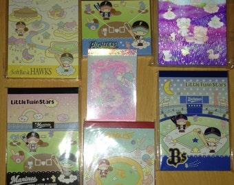 16 x Rare Little Twin Stars Sanrio Gotochi / Regional / Local / District Baseball Japan Exclusive Kawaii Mini & Medium Memo Sheets