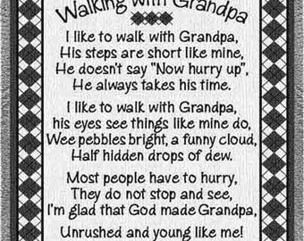 Personalized Blanket For Grandfather Walking with Grandpa