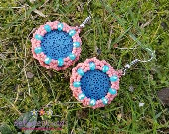 Lava Stone Rock Earrings, Blue Earrings, Lava Effect, Rocky Earrings, Nature, Orange Blue Beads,