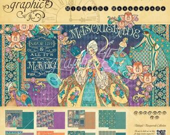 NEW! Graphic 45 Midnight Masquerade 8x8 Paper Pad, SC007714