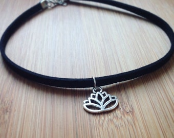 Black suede choker necklace with lotus silver pendant